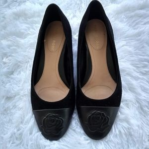 Taryn rose black shoes leather iconic rose